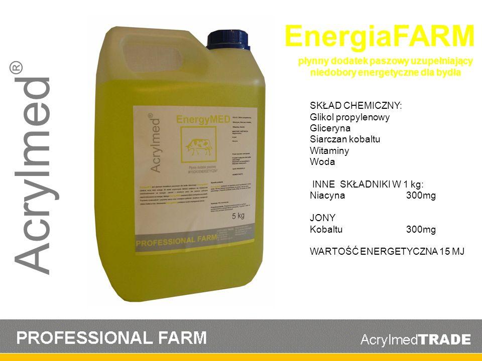 Acrylmed ® EnergiaFARM SKŁAD CHEMICZNY: Glikol propylenowy Gliceryna Siarczan kobaltu Witaminy Woda INNE SKŁADNIKI W 1 kg: Niacyna300mg JONY Kobaltu30
