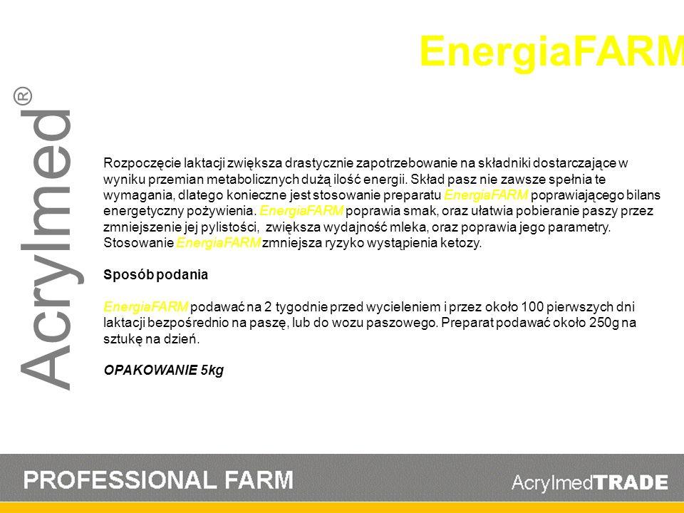 Acrylmed ® Rozpoczęcie laktacji zwiększa drastycznie zapotrzebowanie na składniki dostarczające w wyniku przemian metabolicznych dużą ilość energii. S