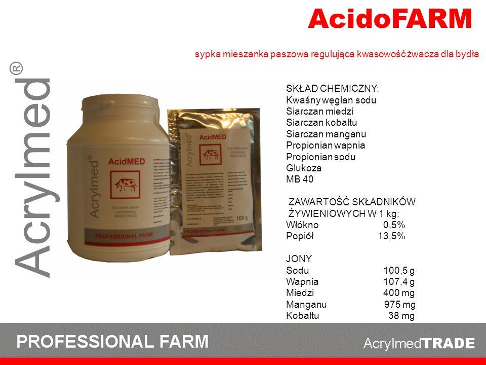 Acrylmed ® AcidoFARM SKŁAD CHEMICZNY: Kwaśny węglan sodu Siarczan miedzi Siarczan kobaltu Siarczan manganu Propionian wapnia Propionian sodu Glukoza M