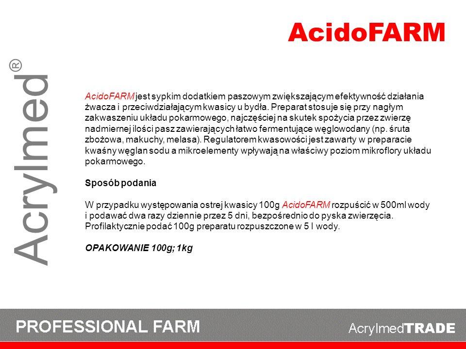 Acrylmed ® AcidoFARM jest sypkim dodatkiem paszowym zwiększającym efektywność działania żwacza i przeciwdziałającym kwasicy u bydła. Preparat stosuje