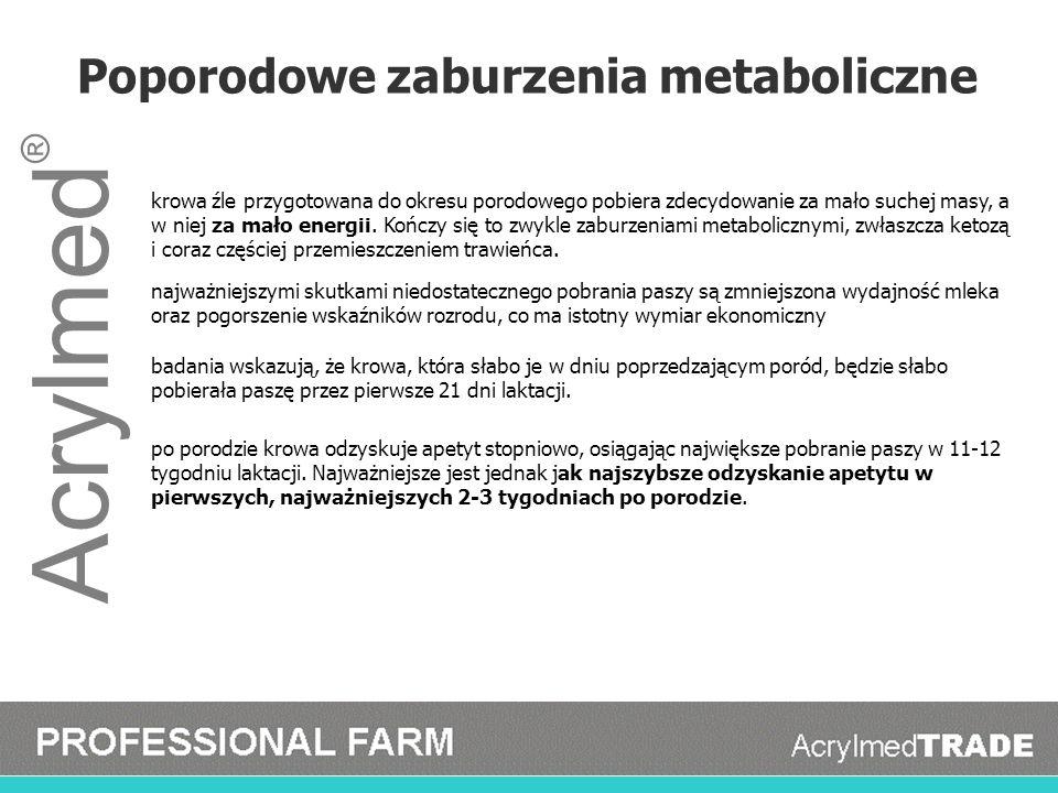 Acrylmed ® Poporodowe zaburzenia metaboliczne krowa źle przygotowana do okresu porodowego pobiera zdecydowanie za mało suchej masy, a w niej za mało e
