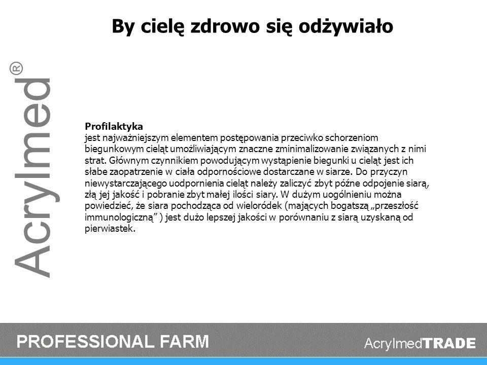 Acrylmed ® By cielę zdrowo się odżywiało Profilaktyka jest najważniejszym elementem postępowania przeciwko schorzeniom biegunkowym cieląt umożliwiając