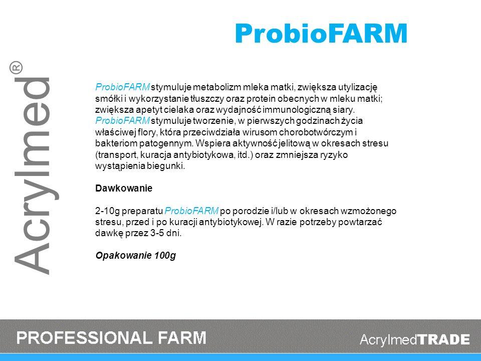Acrylmed ® ProbioFARM stymuluje metabolizm mleka matki, zwiększa utylizację smółki i wykorzystanie tłuszczy oraz protein obecnych w mleku matki; zwięk
