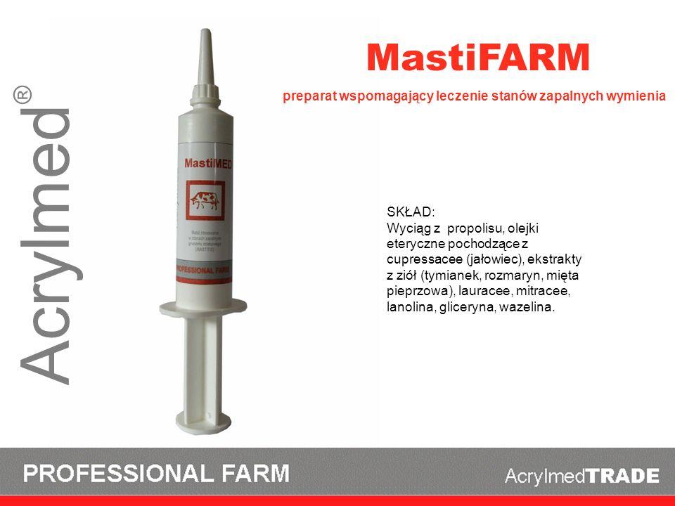 Acrylmed ® MastiFARM SKŁAD: Wyciąg z propolisu, olejki eteryczne pochodzące z cupressacee (jałowiec), ekstrakty z ziół (tymianek, rozmaryn, mięta piep