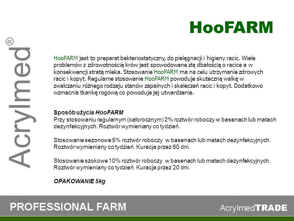 Acrylmed ® HooFARM jest to preparat bakteriostatyczny, do pielęgnacji i higieny racic. Wiele problemów z zdrowotnością krów jest spowodowane złą dbało
