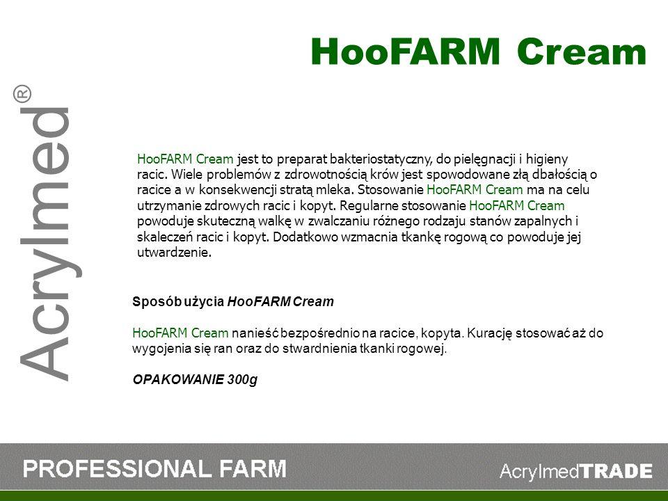 Acrylmed ® HooFARM Cream jest to preparat bakteriostatyczny, do pielęgnacji i higieny racic. Wiele problemów z zdrowotnością krów jest spowodowane złą