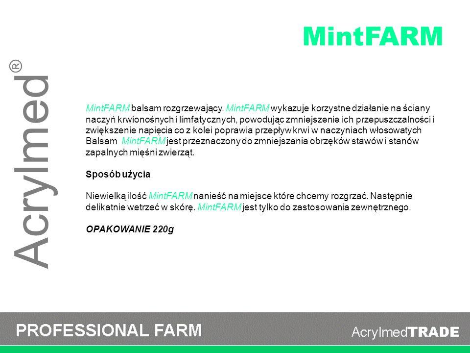 Acrylmed ® MintFARM balsam rozgrzewający. MintFARM wykazuje korzystne działanie na ściany naczyń krwionośnych i limfatycznych, powodując zmniejszenie