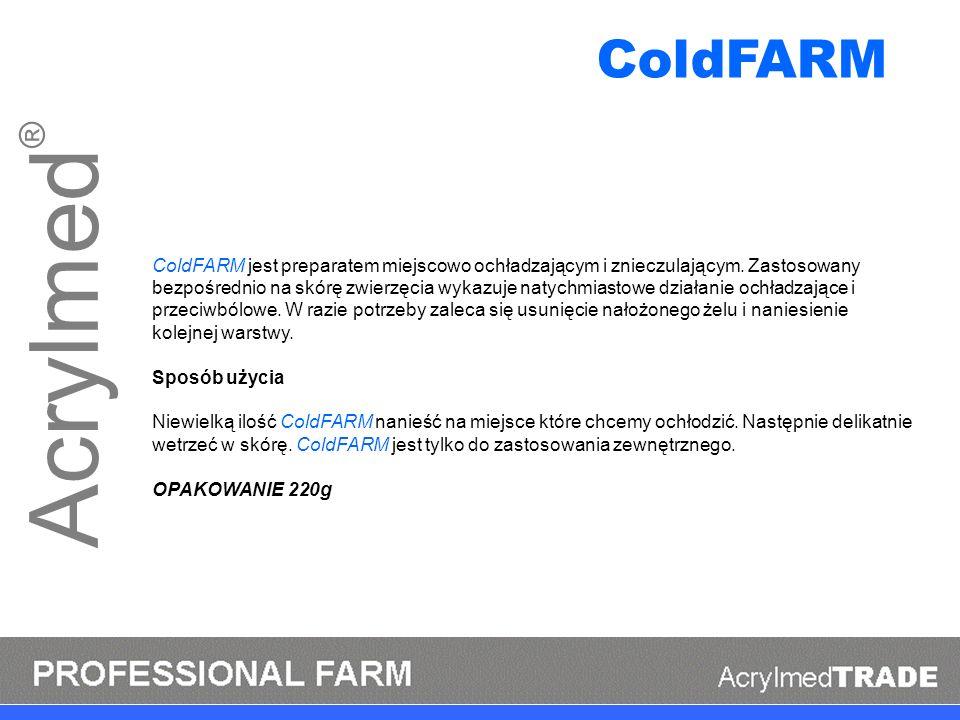 Acrylmed ® ColdFARM jest preparatem miejscowo ochładzającym i znieczulającym. Zastosowany bezpośrednio na skórę zwierzęcia wykazuje natychmiastowe dzi
