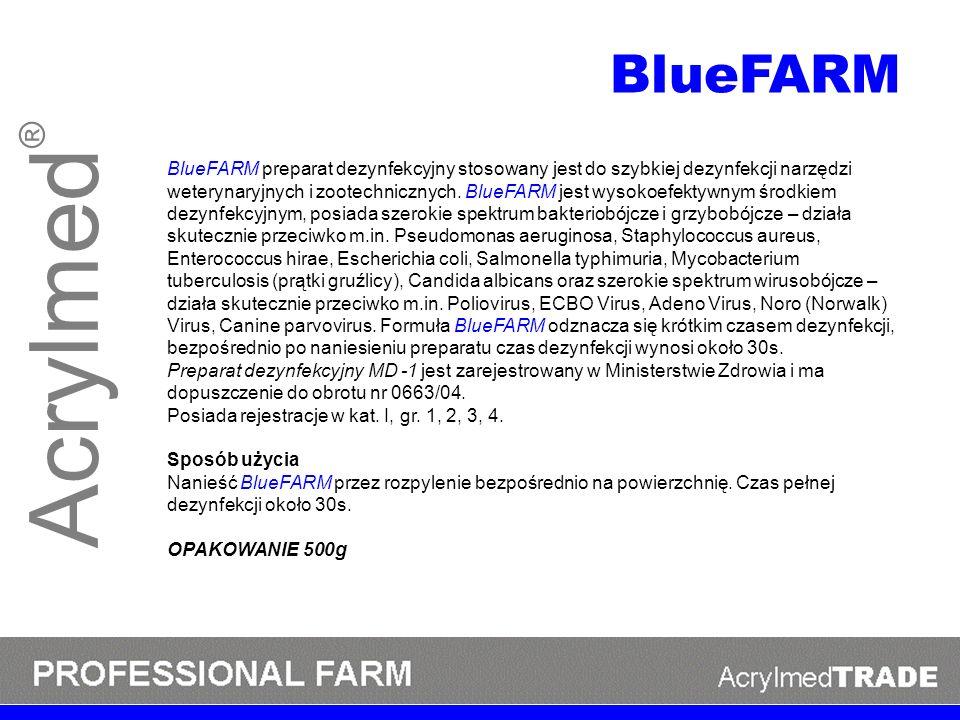 Acrylmed ® BlueFARM preparat dezynfekcyjny stosowany jest do szybkiej dezynfekcji narzędzi weterynaryjnych i zootechnicznych. BlueFARM jest wysokoefek