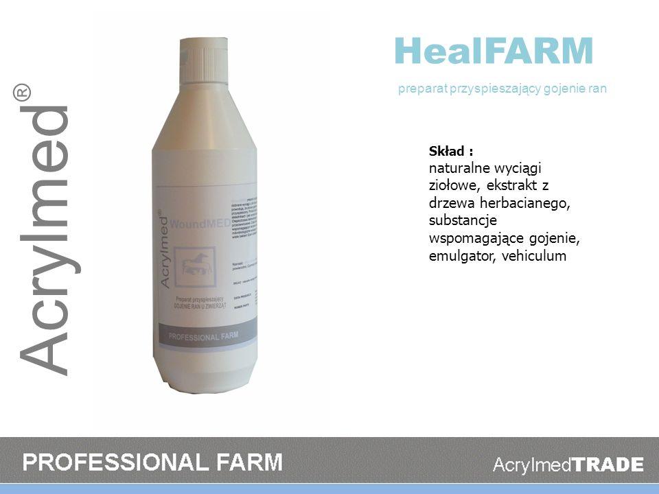 Acrylmed ® HealFARM Skład : naturalne wyciągi ziołowe, ekstrakt z drzewa herbacianego, substancje wspomagające gojenie, emulgator, vehiculum preparat