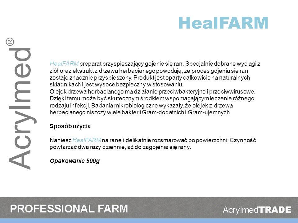 Acrylmed ® HealFARM HealFARM preparat przyspieszający gojenie się ran. Specjalnie dobrane wyciągi z ziół oraz ekstrakt z drzewa herbacianego powodują,