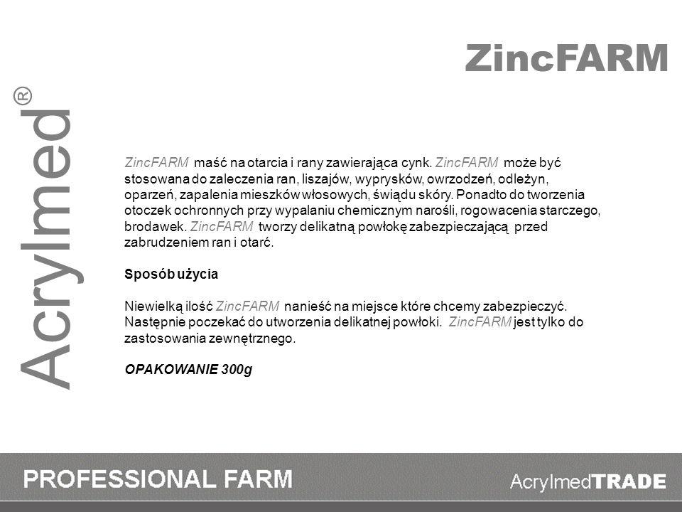 Acrylmed ® ZincFARM maść na otarcia i rany zawierająca cynk. ZincFARM może być stosowana do zaleczenia ran, liszajów, wyprysków, owrzodzeń, odleżyn, o