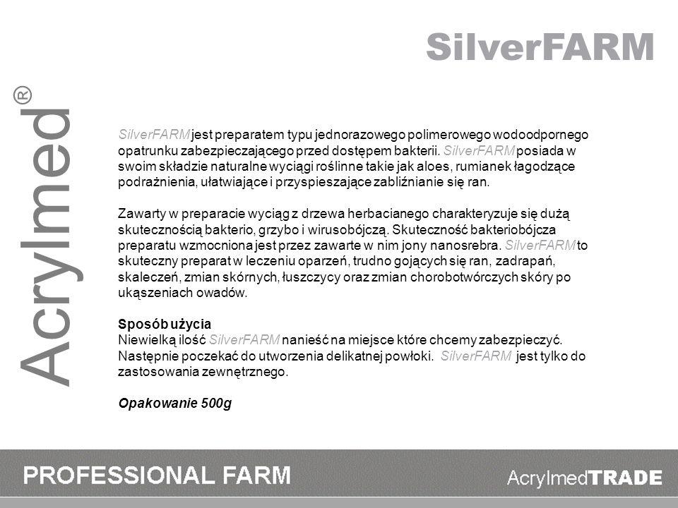 Acrylmed ® SilverFARM jest preparatem typu jednorazowego polimerowego wodoodpornego opatrunku zabezpieczającego przed dostępem bakterii. SilverFARM po