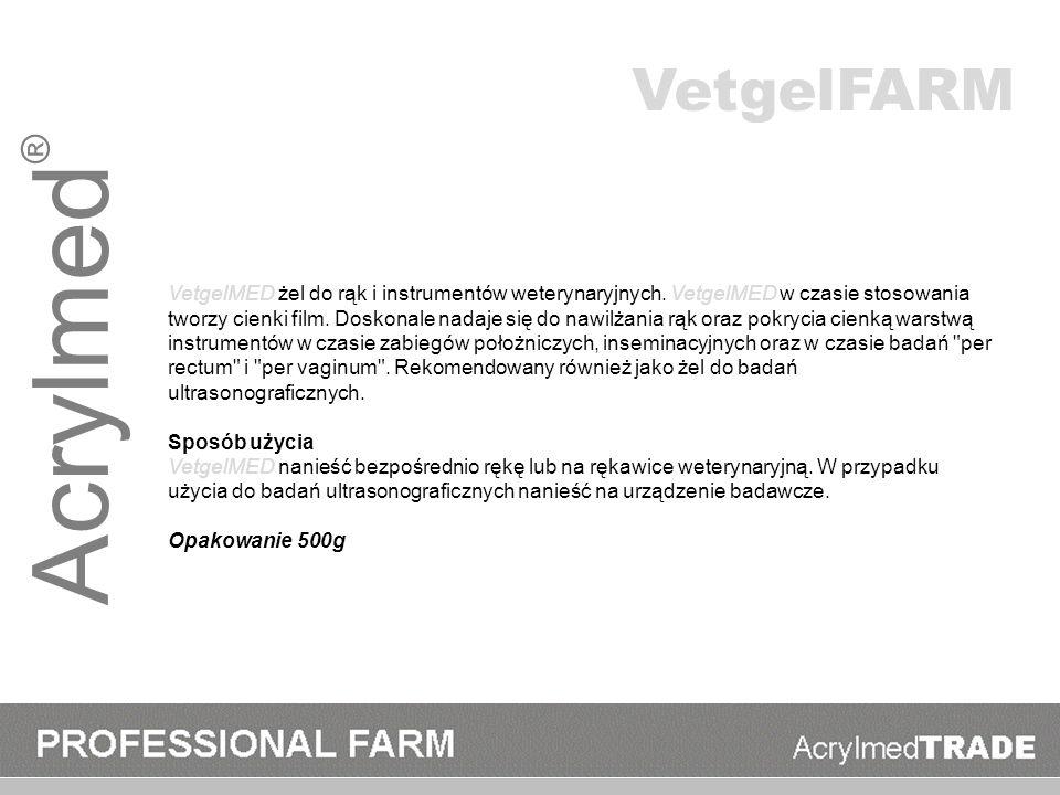Acrylmed ® VetgelMED żel do rąk i instrumentów weterynaryjnych. VetgelMED w czasie stosowania tworzy cienki film. Doskonale nadaje się do nawilżania r