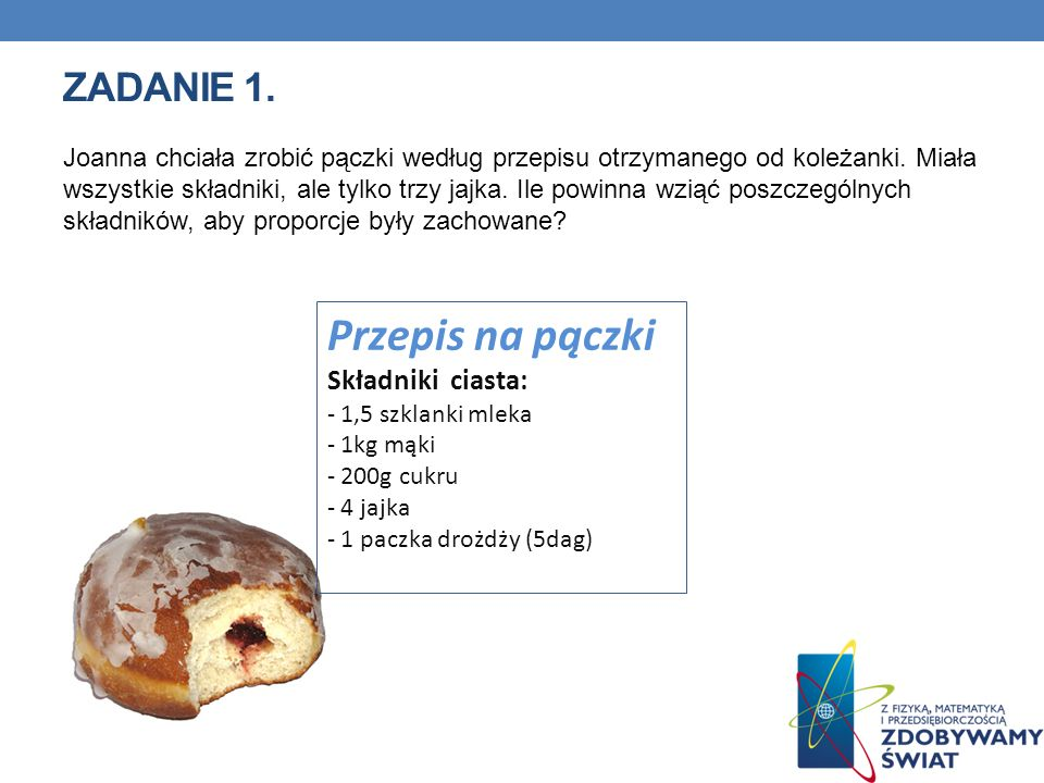 ZADANIE 1.Joanna chciała zrobić pączki według przepisu otrzymanego od koleżanki.