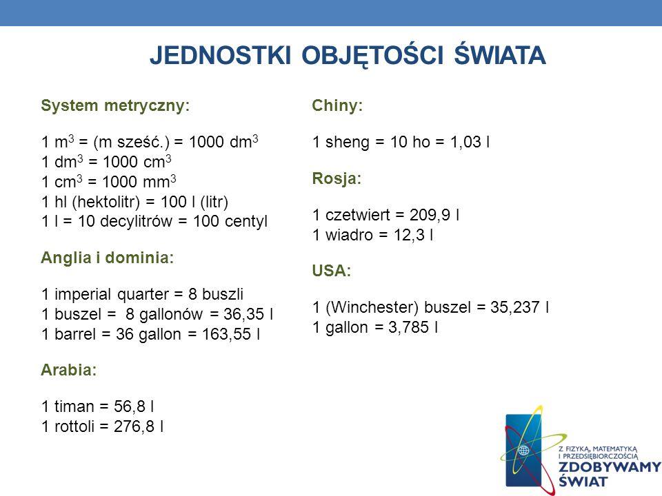 JEDNOSTKI OBJĘTOŚCI ŚWIATA System metryczny: 1 m 3 = (m sześć.) = 1000 dm 3 1 dm 3 = 1000 cm 3 1 cm 3 = 1000 mm 3 1 hl (hektolitr) = 100 l (litr) 1 l