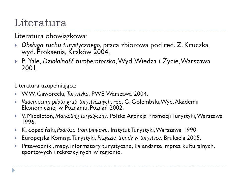 Literatura Literatura obowiązkowa: Obsługa ruchu turystycznego, praca zbiorowa pod red. Z. Kruczka, wyd. Proksenia, Kraków 2004. P. Yale, Działalność