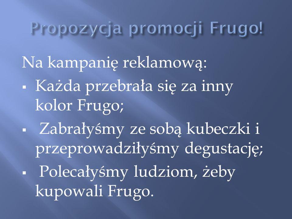 Na kampanię reklamową: Każda przebrała się za inny kolor Frugo; Zabrałyśmy ze sobą kubeczki i przeprowadziłyśmy degustację; Polecałyśmy ludziom, żeby kupowali Frugo.