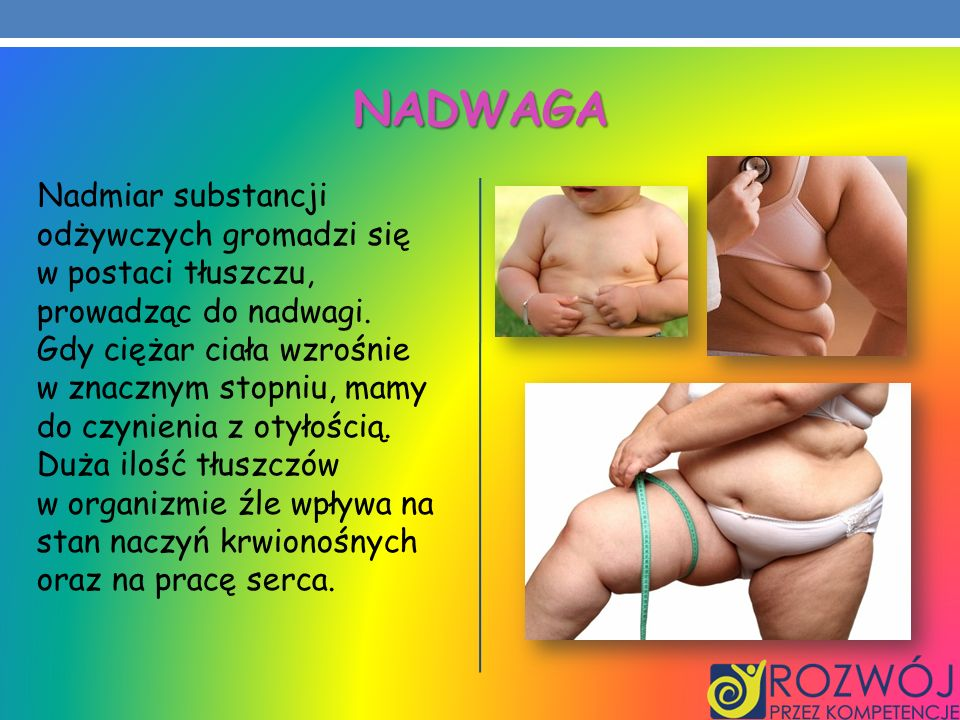 NADWAGA Nadmiar substancji odżywczych gromadzi się w postaci tłuszczu, prowadząc do nadwagi. Gdy ciężar ciała wzrośnie w znacznym stopniu, mamy do czy
