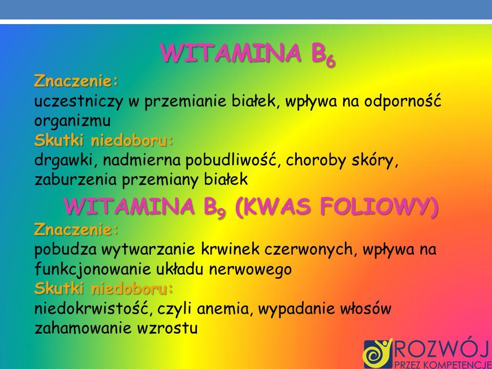 WITAMINA B 6 Znaczenie: uczestniczy w przemianie białek, wpływa na odporność organizmu Skutki niedoboru: drgawki, nadmierna pobudliwość, choroby skóry