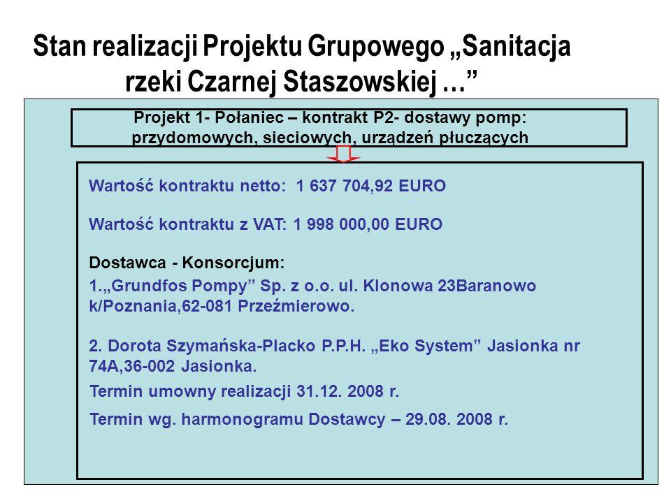 Stan realizacji Projektu Grupowego Sanitacja rzeki Czarnej Staszowskiej … Projekt 1- Połaniec – kontrakt P2- dostawy pomp: przydomowych, sieciowych, urządzeń płuczących Wartość kontraktu netto: 1 637 704,92 EURO Wartość kontraktu z VAT: 1 998 000,00 EURO Dostawca - Konsorcjum: 1.Grundfos Pompy Sp.