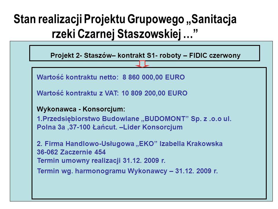 Stan realizacji Projektu Grupowego Sanitacja rzeki Czarnej Staszowskiej … Projekt 2- Staszów– kontrakt S1- roboty – FIDIC czerwony Wartość kontraktu netto: 8 860 000,00 EURO Wartość kontraktu z VAT: 10 809 200,00 EURO Wykonawca - Konsorcjum: 1.Przedsiębiorstwo Budowlane BUDOMONT Sp.