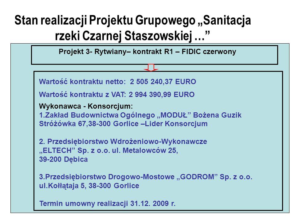 Stan realizacji Projektu Grupowego Sanitacja rzeki Czarnej Staszowskiej … Projekt 3- Rytwiany– kontrakt R1 – FIDIC czerwony Wartość kontraktu netto: 2