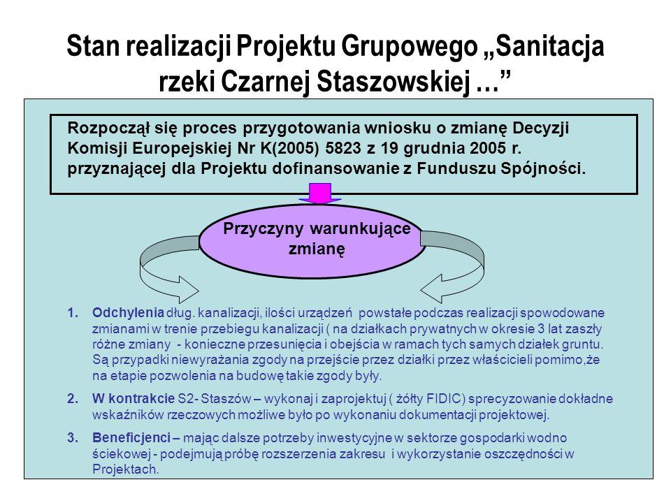 Stan realizacji Projektu Grupowego Sanitacja rzeki Czarnej Staszowskiej … Rozpoczął się proces przygotowania wniosku o zmianę Decyzji Komisji Europejskiej Nr K(2005) 5823 z 19 grudnia 2005 r.
