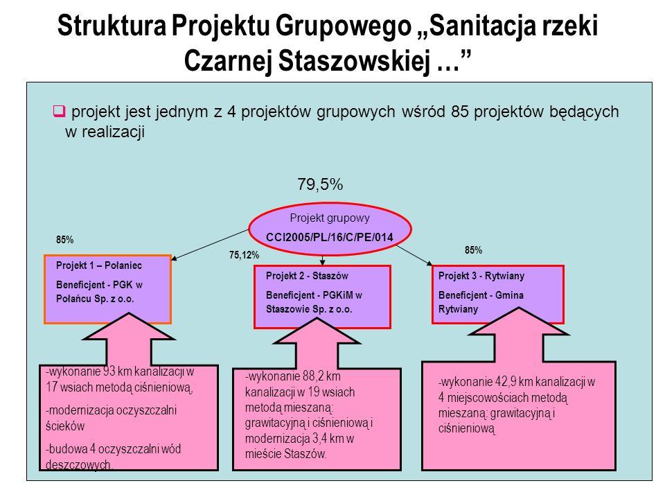 Struktura Projektu Grupowego Sanitacja rzeki Czarnej Staszowskiej … projekt jest jednym z 4 projektów grupowych wśród 85 projektów będących w realizacji Projekt grupowy CCI2005/PL/16/C/PE/014 Projekt 1 – Połaniec Beneficjent - PGK w Połańcu Sp.