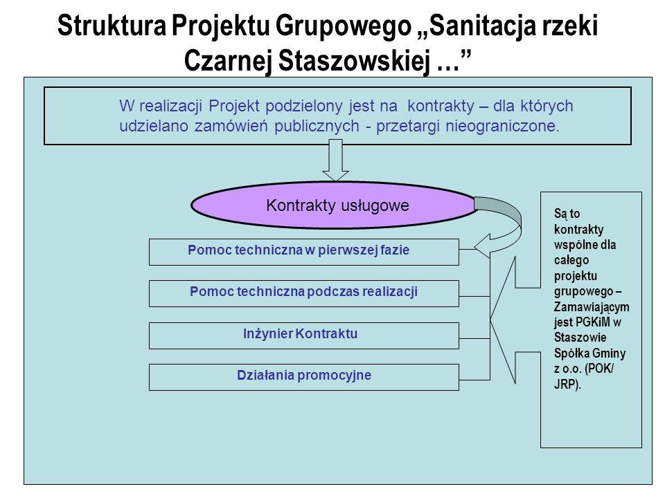 Struktura Projektu Grupowego Sanitacja rzeki Czarnej Staszowskiej … W realizacji Projekt podzielony jest na kontrakty – dla których udzielano zamówień publicznych - przetargi nieograniczone.