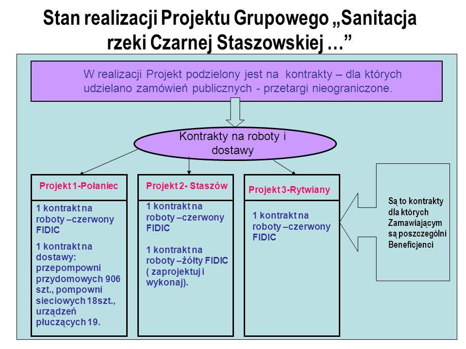 Stan realizacji Projektu Grupowego Sanitacja rzeki Czarnej Staszowskiej … W realizacji Projekt podzielony jest na kontrakty – dla których udzielano zamówień publicznych - przetargi nieograniczone.