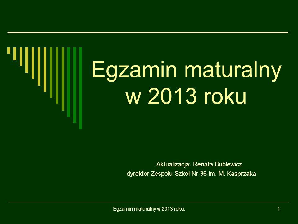 Egzamin maturalny w 2013 roku.1 Egzamin maturalny w 2013 roku Aktualizacja: Renata Bublewicz dyrektor Zespołu Szkół Nr 36 im.