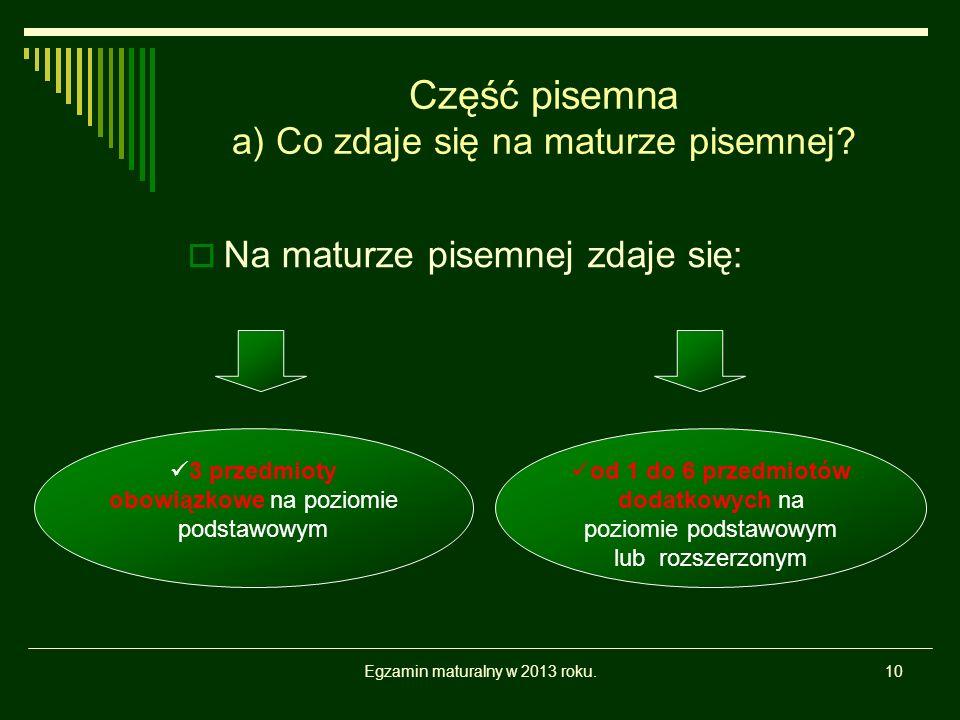 Egzamin maturalny w 2013 roku.10 Część pisemna a) Co zdaje się na maturze pisemnej.