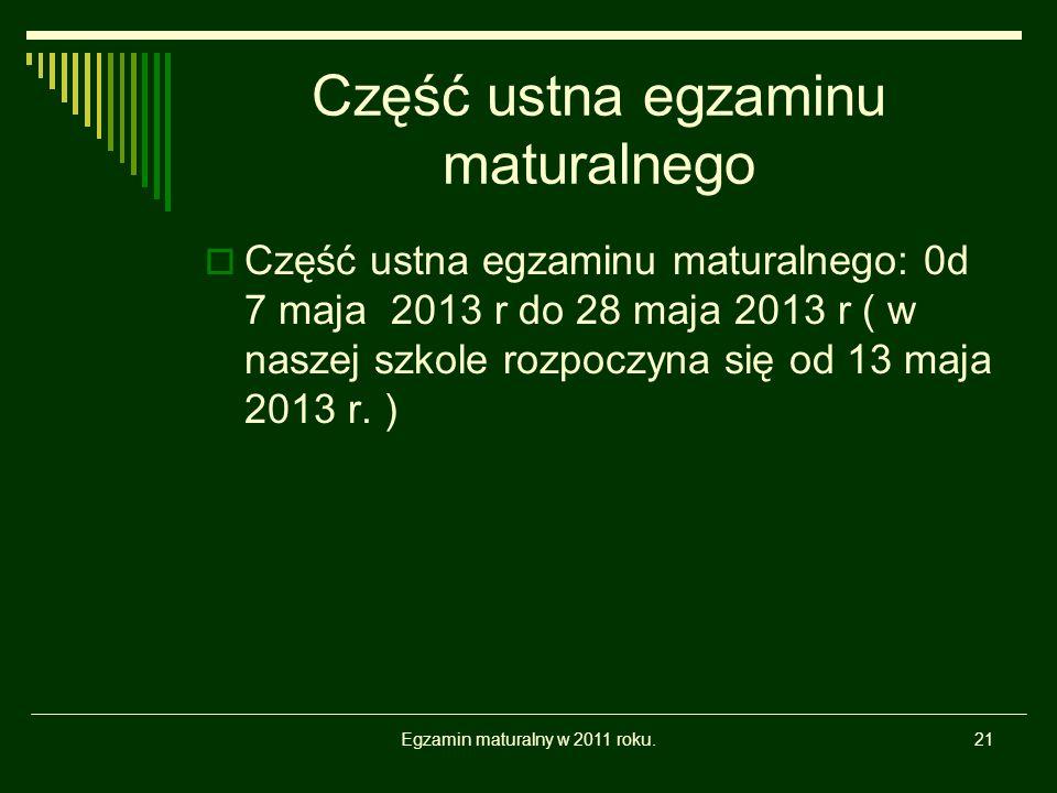 Część ustna egzaminu maturalnego Część ustna egzaminu maturalnego: 0d 7 maja 2013 r do 28 maja 2013 r ( w naszej szkole rozpoczyna się od 13 maja 2013 r.