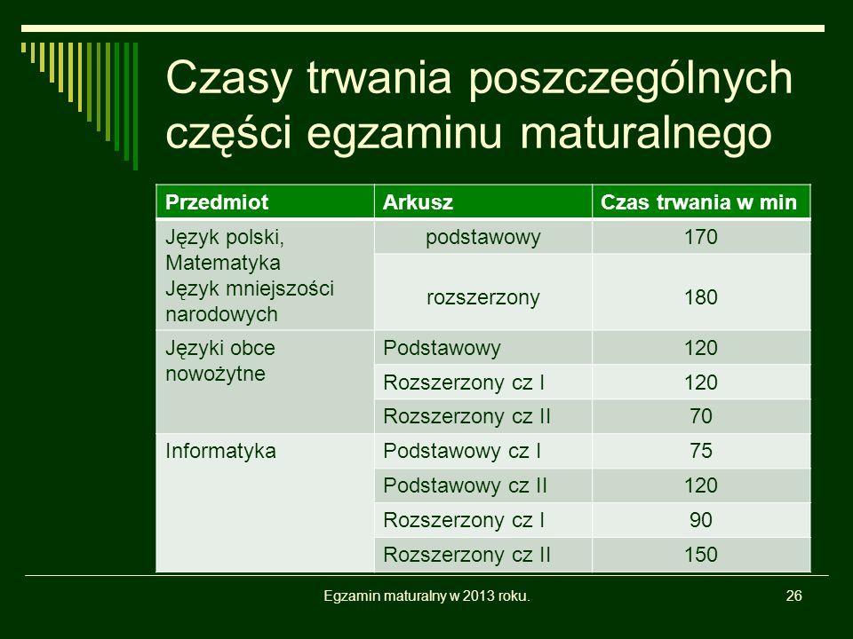 Czasy trwania poszczególnych części egzaminu maturalnego PrzedmiotArkuszCzas trwania w min Język polski, Matematyka Język mniejszości narodowych podstawowy170 rozszerzony180 Języki obce nowożytne Podstawowy120 Rozszerzony cz I120 Rozszerzony cz II70 InformatykaPodstawowy cz I75 Podstawowy cz II120 Rozszerzony cz I90 Rozszerzony cz II150 Egzamin maturalny w 2013 roku.26