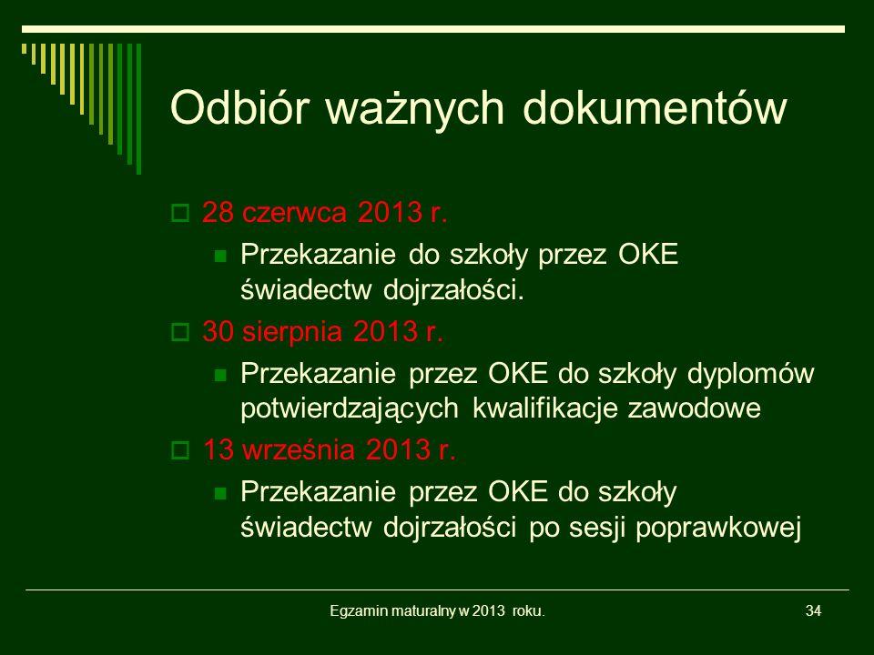 Odbiór ważnych dokumentów 28 czerwca 2013 r. Przekazanie do szkoły przez OKE świadectw dojrzałości.