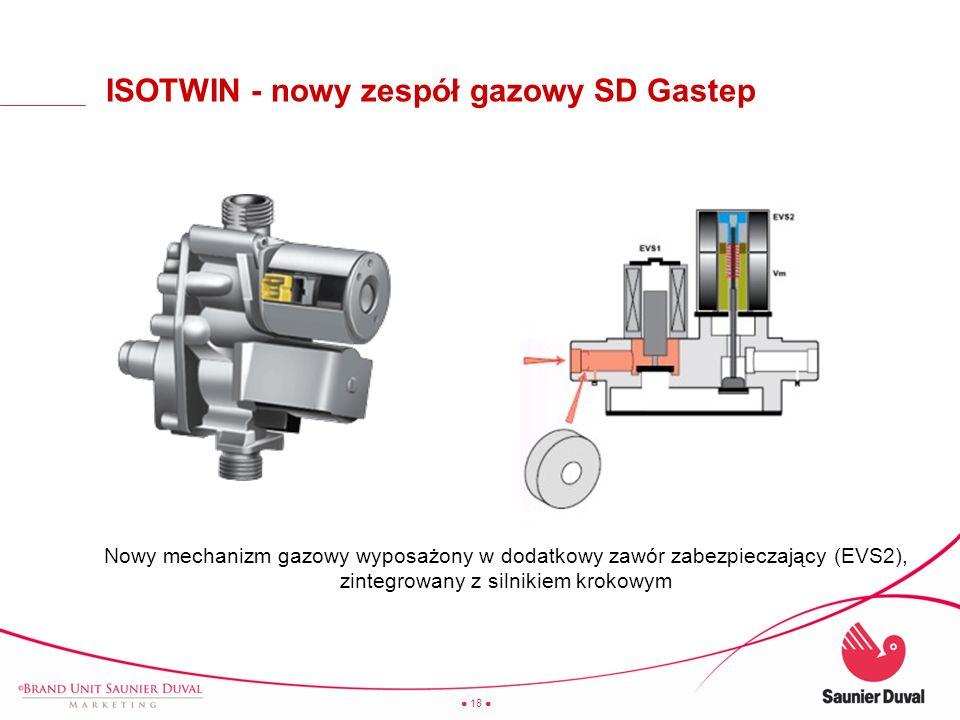 18 ISOTWIN - nowy zespół gazowy SD Gastep Nowy mechanizm gazowy wyposażony w dodatkowy zawór zabezpieczający (EVS2), zintegrowany z silnikiem krokowym