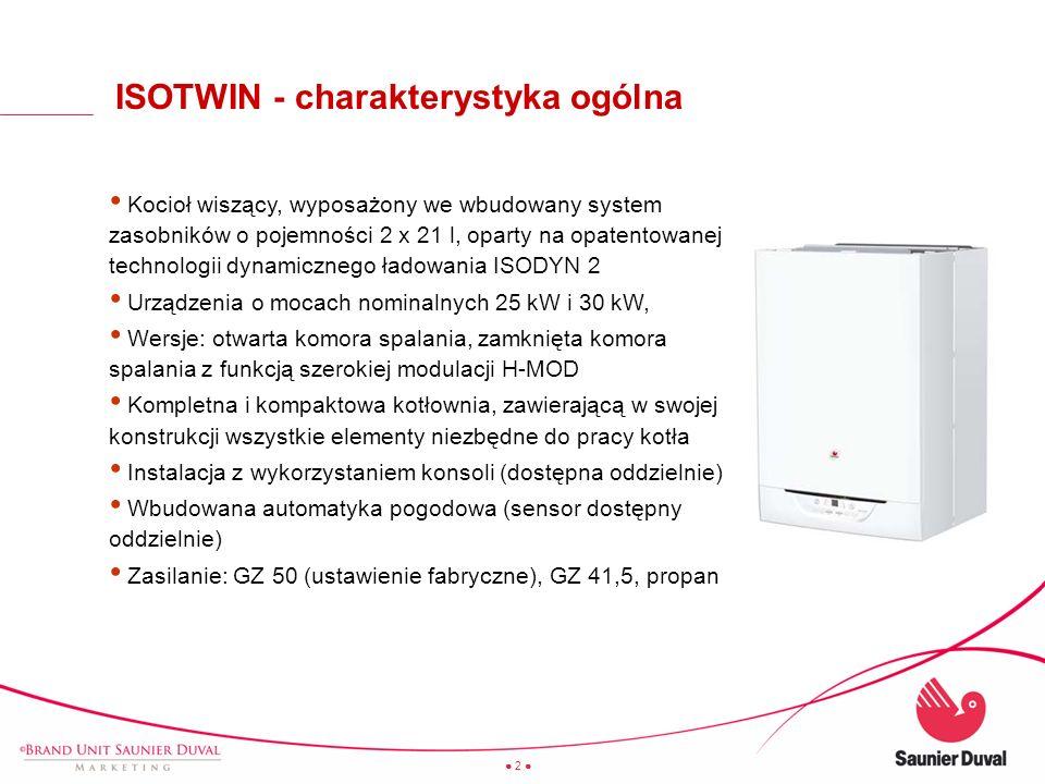 2 Kocioł wiszący, wyposażony we wbudowany system zasobników o pojemności 2 x 21 l, oparty na opatentowanej technologii dynamicznego ładowania ISODYN 2