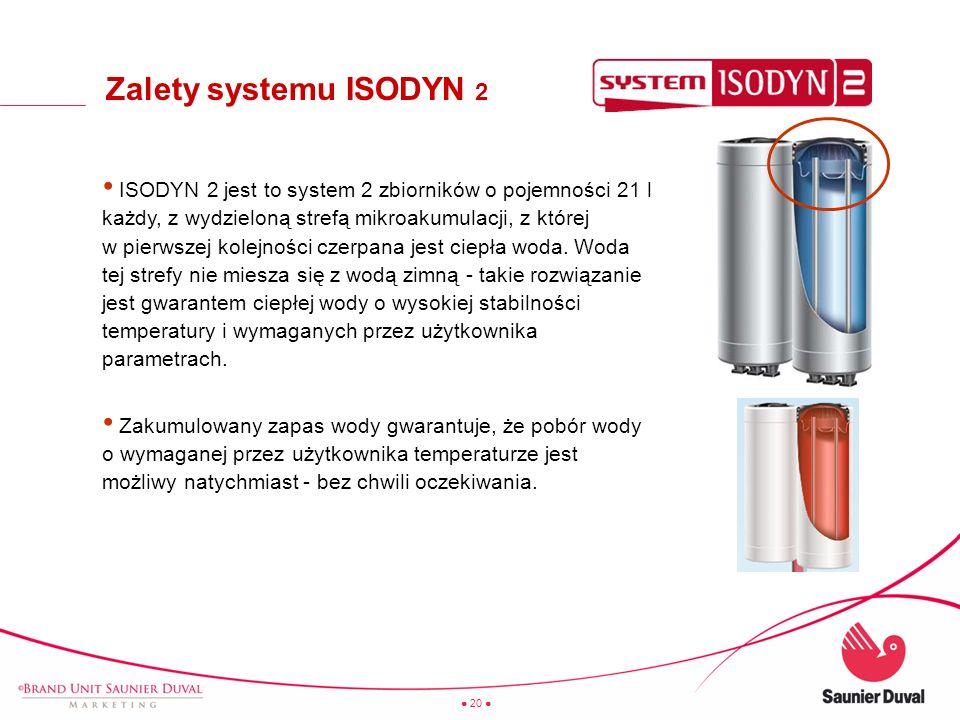 20 ISODYN 2 jest to system 2 zbiorników o pojemności 21 l każdy, z wydzieloną strefą mikroakumulacji, z której w pierwszej kolejności czerpana jest ci