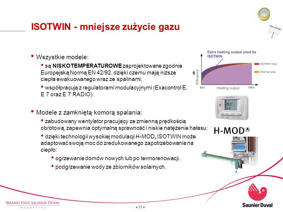 26 ISOTWIN - mniejsze zużycie gazu Wszystkie modele: są NISKOTEMPERATUROWE zaprojektowane zgodnie z Europejską Normą EN 42/92, dzięki czemu mają niższ