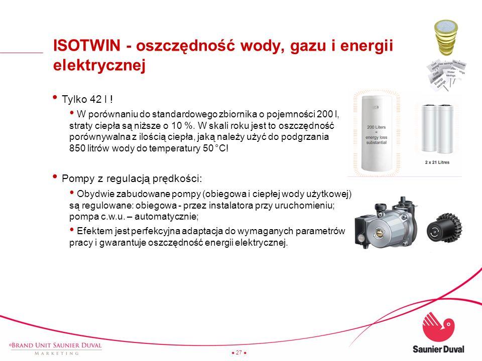 27 ISOTWIN - oszczędność wody, gazu i energii elektrycznej Tylko 42 l ! W porównaniu do standardowego zbiornika o pojemności 200 l, straty ciepła są n