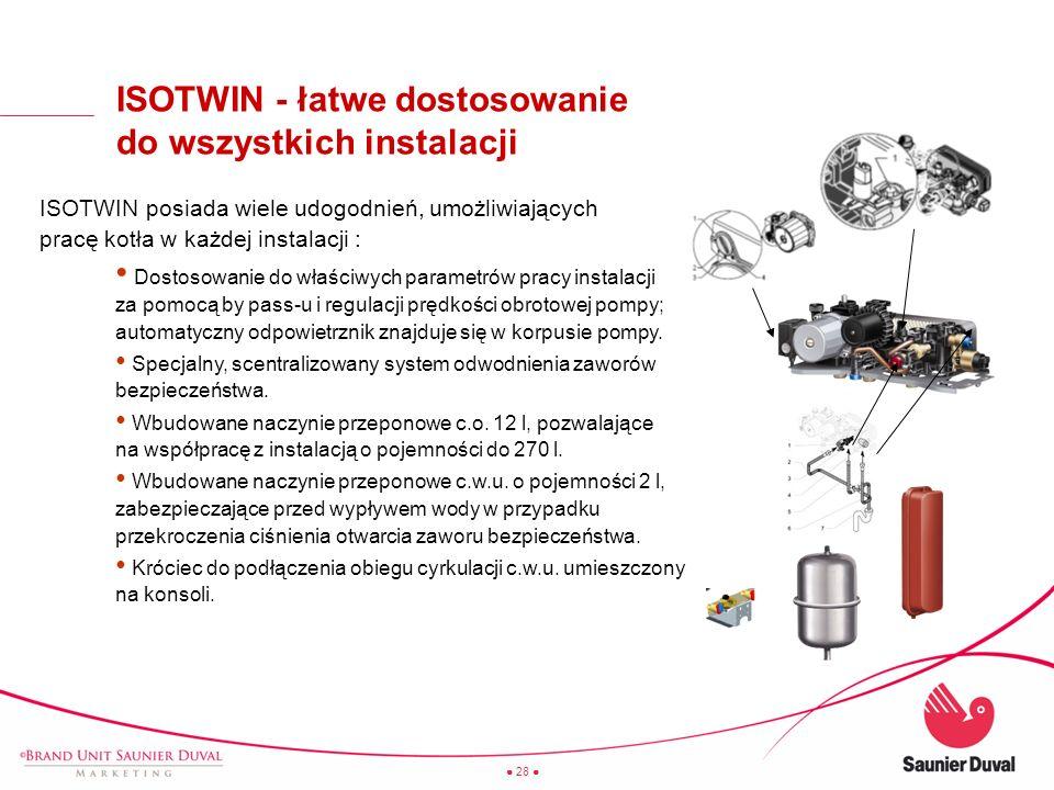 28 ISOTWIN - łatwe dostosowanie do wszystkich instalacji ISOTWIN posiada wiele udogodnień, umożliwiających pracę kotła w każdej instalacji : Dostosowa