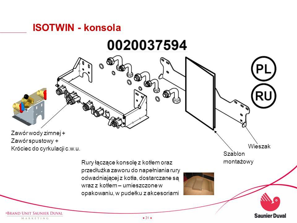 31 Szablon montażowy Wieszak Zawór wody zimnej + Zawór spustowy + Króciec do cyrkulacji c.w.u. Rury łączące konsolę z kotłem oraz przedłużka zaworu do