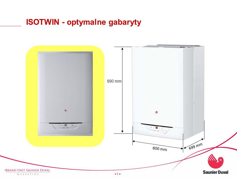 16 ISOTWIN - zbiornik łatwy do wyjęcia minimum 300 mm Serwisant może samodzielnie zdemontować zbiornik, bez konieczności demontażu kotła ze ściany.