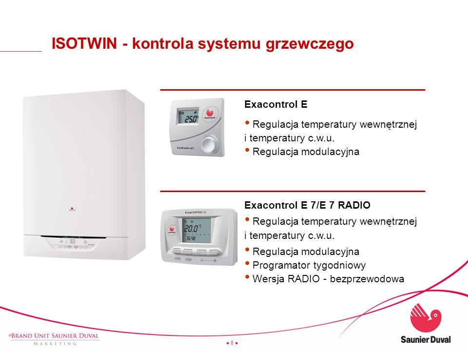 8 + Exacontrol E Regulacja temperatury wewnętrznej i temperatury c.w.u. Regulacja modulacyjna Exacontrol E 7/E 7 RADIO Regulacja temperatury wewnętrzn