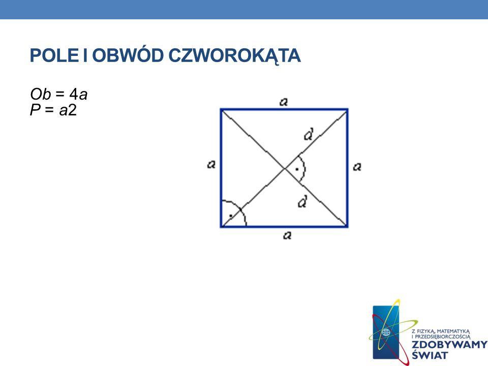 POLE I OBWÓD CZWOROKĄTA Ob = 4a P = a2