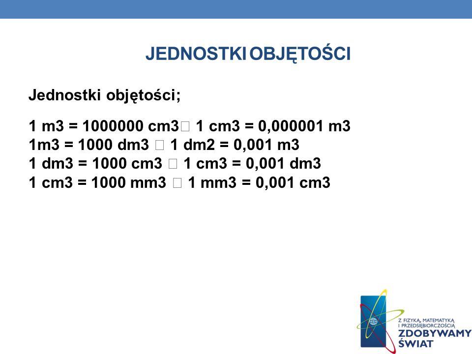 JEDNOSTKI OBJĘTOŚCI Jednostki objętości; 1 m3 = 1000000 cm3 1 cm3 = 0,000001 m3 1m3 = 1000 dm3 1 dm2 = 0,001 m3 1 dm3 = 1000 cm3 1 cm3 = 0,001 dm3 1 cm3 = 1000 mm3 1 mm3 = 0,001 cm3