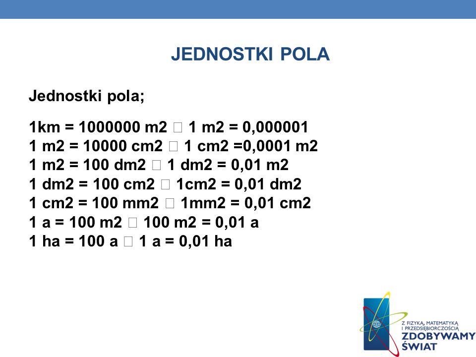 JEDNOSTKI POLA Jednostki pola; 1km = 1000000 m2 1 m2 = 0,000001 1 m2 = 10000 cm2 1 cm2 =0,0001 m2 1 m2 = 100 dm2 1 dm2 = 0,01 m2 1 dm2 = 100 cm2 1cm2 = 0,01 dm2 1 cm2 = 100 mm2 1mm2 = 0,01 cm2 1 a = 100 m2 100 m2 = 0,01 a 1 ha = 100 a 1 a = 0,01 ha