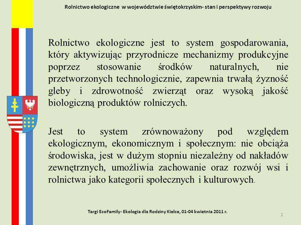 Rolnictwo ekologiczne w województwie świętokrzyskim- stan i perspektywy rozwoju Rolnictwo ekologiczne jest to system gospodarowania, który aktywizując