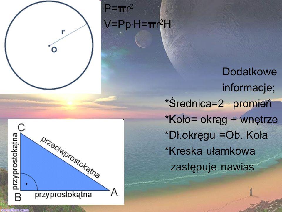 P=πr 2 V=Pp. H=πr 2 H Dodatkowe informacje; *Średnica=2. promień *Koło= okrąg + wnętrze *Dł.okręgu =Ob. Koła *Kreska ułamkowa zastępuje nawias